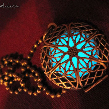 Aqua Glow in the Dark Mystic Antiqued Brass Filigree Locket