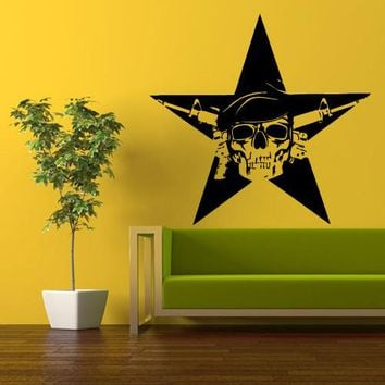 Wall Vinyl Decal Sticker Bedroom Decal Star Skull Soldier  z358