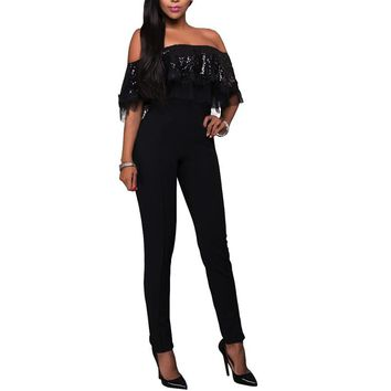 LASPERAL 2017 Sexy Summer Overalls Lace Bodysuits Off Shoulder Slash Neck Women Short Sleeve Ruffles Jumpsuits Femme Playsuits