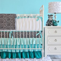 Caden Lane Crib Bedding Set Aqua Leopard