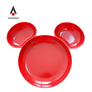 Wulekue Melamine Mickey Shape Children Plate Dish For Noodles Rice Vegetables Snacks Baby Tableware