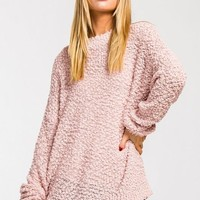 Pullover Popcorn Sweater - Pink
