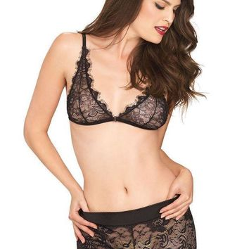 CREYI7E The 2PC. Eyelash Lace Bralette and Matching Stretch Lace Boy Shorts in Black