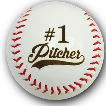 #1 Pitcher Laser Engraved Synthetic Leather Baseball Gift