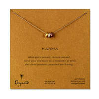 karma triple bead necklace, mixed metal, 18 inch