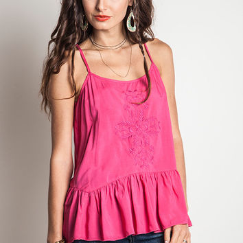 Embroidered Ruffle Tank - Fuchsia