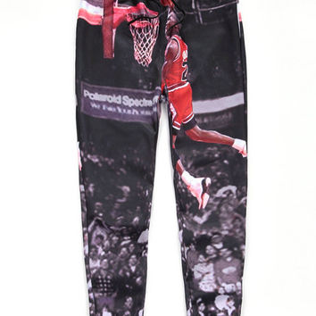 Black Emoji Michael Dunk 23 Print Hip-Hop Sweatpants