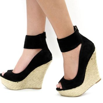 New Womens WKe Black Ankle Strap Espadrille Peep Toe Platform Wedge High Heels