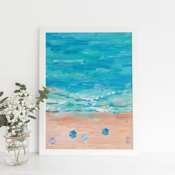 Seascape Painting Turquoise Art Print