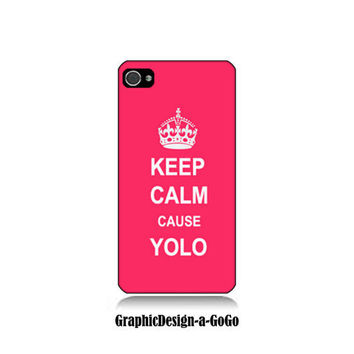 Iphone 4 case, Iphone 4s , Keep Calm cause Yolo, custom cell phone case, Original design