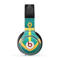The Gold Stretched Anchor with Green Background Skin for the Beats by Dre Pro Headphones