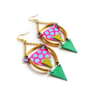 I liked this design on #Fab. Watermelon Geometric Earrings