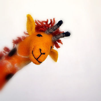 Masamba Felt Giraffe Art Animal Marionette by TwoSadDonkeys