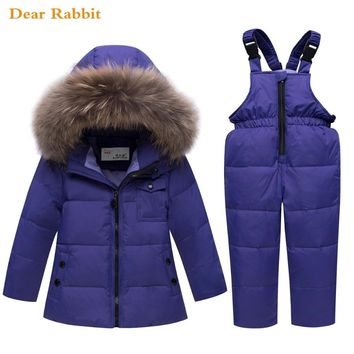 parka real Fur hooded boy baby overalls girl spring winter down jacket warm kids coat children snowsuit clothes clothing Sets