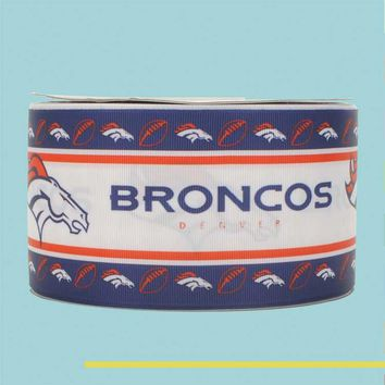 "3"" inch 75 mm 7.5cm NFL super bowl champion broncos denver free shipping printed grosgrain ribbons"