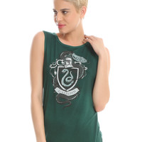 Harry Potter Slytherin Crest Oil Wash Girls Muscle Top