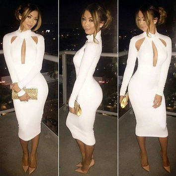 White Turtleneck Cutout  Bodycon Midi Dress