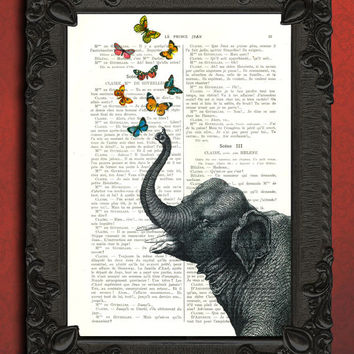 Butterfly blowing elephant vintage mixed media, butterflies illustration on book page - beautifully upcycled french book page art print