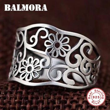 BALMORA 925 Sterling Silver Hollow Flower Open Rings for Women Mother Lover Gift Thai Silver Delicate Fashion Jewelry SY21996