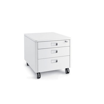 Moll Champion Kids Three Drawer Rolling Cube Container in White Wood w/Laminate Finish