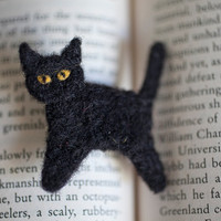 Black Cat Pin, Adorable Needle Felted Brooch Made to Order, Great Stocking Stuffer