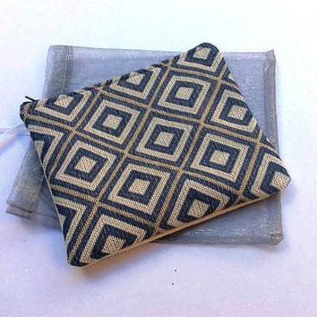 Small  pouch/ clutch, slim shape, tapestry fabric, handmade, zipper close, Cosmetic bag, Pencil case, ooak