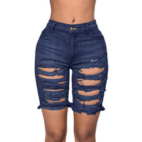 Blue Distressed Bermuda Shorts LAVELIQ