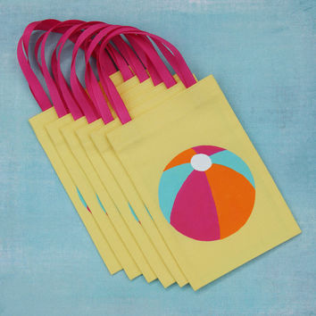 Beach Ball Favor Bags : Set of 6 Pool Party Favor Bags