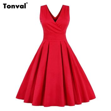 Tonval Summer Red Dress Women Sexy V Neck Pleated Dress 2017 Plus Size Backless Vintage Party Elegant Bow Dresses