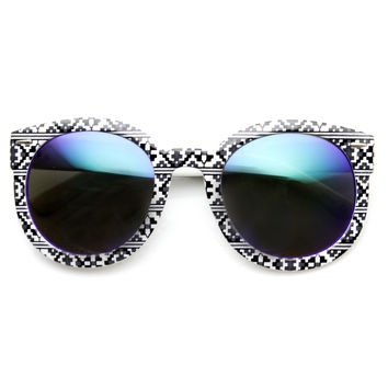 Indie Women's Native Print Flash Mirrored Lens Round Sunglasses 9380