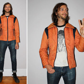 Vintage 70s SKI JACKET / Burnt Orange + Navy Bomber Jacket / Oversized Collar / Nylon Winter Fall Coat / Medium / by Roan