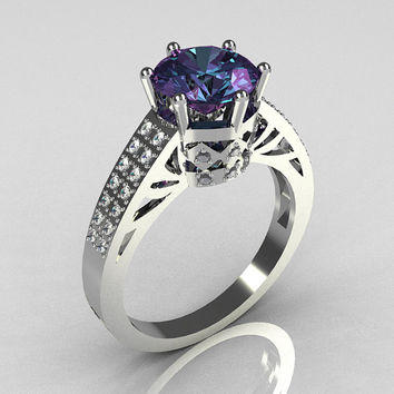 Modern Antique 14K White Gold 1.25 Carat Round Alexandrite Pave Diamond Solitaire Wedding Ring Y233-14KWGDAL