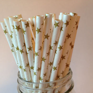 Gold Stars Straws, Gold Stars Paper Straws, Gold Stars Party Straws, Gold Straws, Wedding Straws, Golden Anniversary, Party Straws,  10 pcs