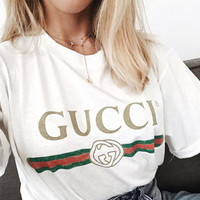 """Gucci""Hot letters print T-shirt top"