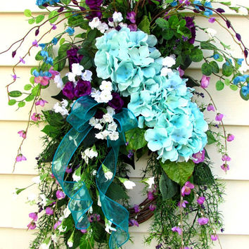 Summer door wreath, spring door swag, swag wreath, floral door swag, spring swag, floral swag hydrangea, peony door wreath, summer swags