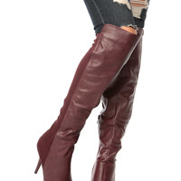 Wine Faux Leather Over the Knee Pointed Boots