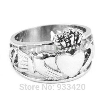 Free shipping! Claddagh Style Hand to Hold a Heart with Crown Ring Stainless Steel Jewelry Celtic Knot Women Biker Ring