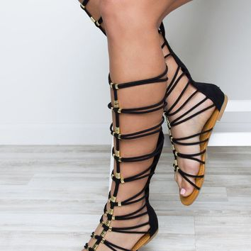 Up To No Good Gladiator Sandals - Black