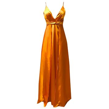 Citrus Surprise Orange Satin Sleeveless Spaghetti Strap Plunge V Neck Double Split Maxi Dress