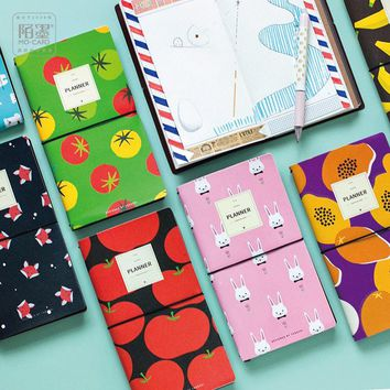 PU Leather Cover Planner Notebook  Fruit Animals Travel Journal Diary Book Exercise Composition Binding Note Notepad Gift 2017