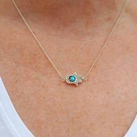 Silver Sideways Hamsa Hand and Turquoise Bead Necklace from Black Tied