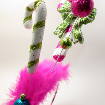 Candycane Forest Ugly Christmas Sweater Party Headband - Wacky Tacky Christmas Pink and Lime Whoville Inspired Fascinator - crazy elf hat