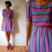Vtg Neon Striped Purple Pink Blue Green Belted Retro Dress