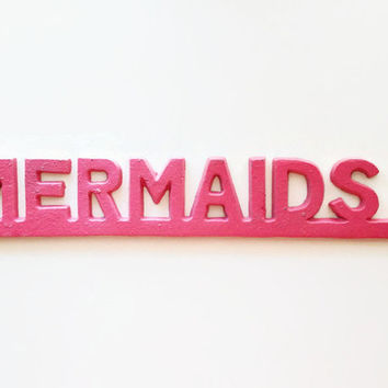 Hot Pink Mermaid Wall Art. Mermaid Nursery Decor. Bathroom Decor. College Dorm Girl. Apartment Decorations. Pink Beach Decor