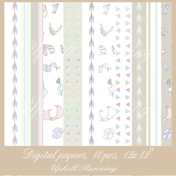 Digital background papers, Scrapbooking sheets, soft colors, digital papers, 12x12 inch, JPG, 300 dpi, Instant Download