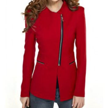 Fashionable Style Turn-Down Collar Solid Color Zipper Embellished Slimming Women's Blazer