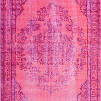nuLOOM Machine Made Vintage Inspired Overdyed Rug Pink