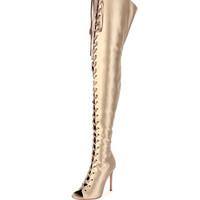 Gianvito Rossi Marie Satin Lace-Up 105mm Over-the-Knee Boot