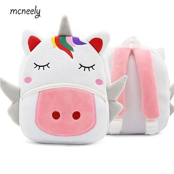 Hot Kindergarten Kid Unicorn Backpacks Baby Girls Boy Cute Schoolbag Plush Backpack Children Cartoon Pres Toys Gifts School Bag