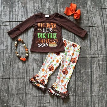 baby girls Fall thanksgiving party outfits girls I'm here just for the pie brown top outfits thankgiving sets with accessories